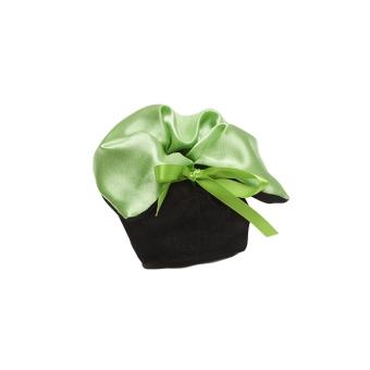 Schmuckbeutel 50x50x60 mm grün / schwarz