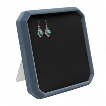 TE-Ständer 8-eckig 190x190x28 mm für 12 Paar Ohrri taubenblau | schwarz